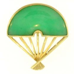 Mason Kay 14k Yellow Gold Jadeite Oriental Fan Pin