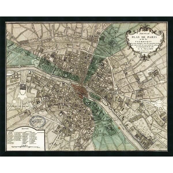 Vintage Reproduction 'Plan de Paris' Framed Art Print