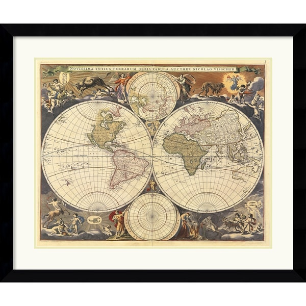 Ria Visscher 'New World Map, 17th Century' Framed Art Print