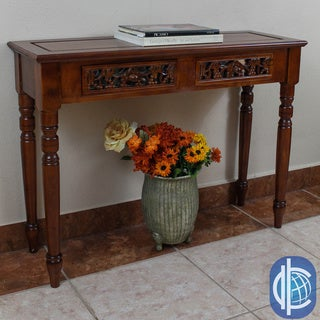 International Caravan Windsor Hand-carved Wood 2-drawer Table