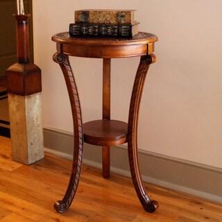 International Caravan Shangri-La Hand-carved Rich Oak Round Stand
