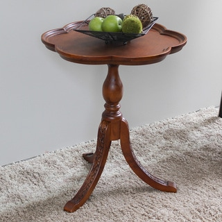 International Caravan Shangri-La Hand-carved Wood Scalloped Round Table