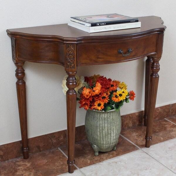 International Caravan Shangri-La Dao Hand-carved Wood Half Moon Table