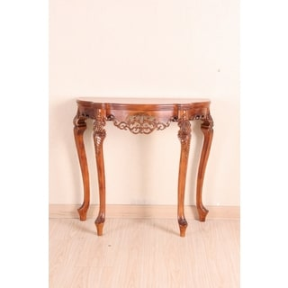 International Caravan Shangri-La Hand-carved Taiji Wood Half-Moon Table