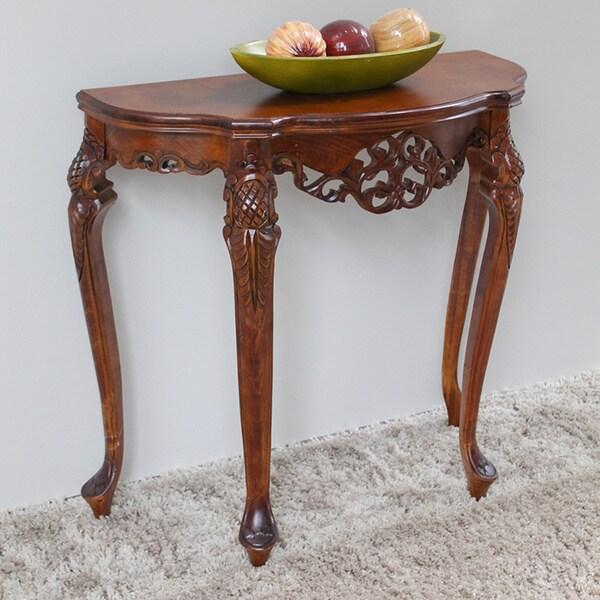 International Caravan Shangri-La Hand-carved Taiji Wood Half-Moon Table