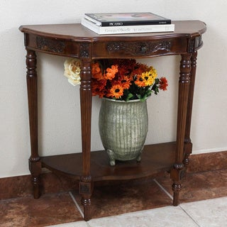 International Caravan Shangri-La Mozi Hand-carved Wood Half-Moon Table