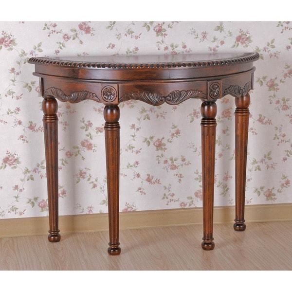 International Caravan Shangri-La Hand-carved Wood Half Round Table