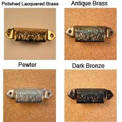 Solid Brass Vintage Raliegh Bin Pulls (Set of 4)