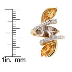 D'Yach 14k Gold Smokey Quartz, Citrine and 1/5ct TDW Diamond Ring (I-J, I1-I2)