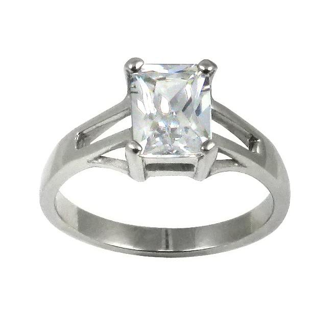 Stainless Steel Cubic Zirconia Solitaire Engagement-style Ring