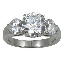 Stainless Steel Round and Heart Cubic Zirconia Engagement-style Ring