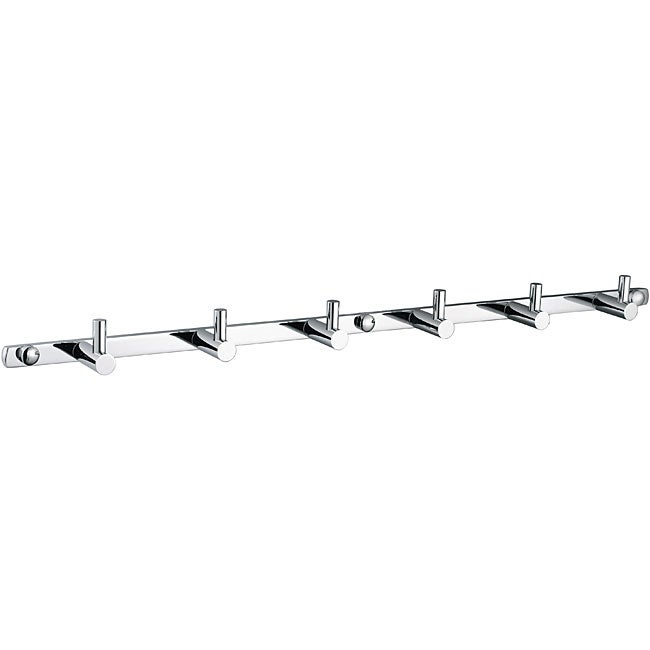 Utility Hook Six-Peg Brass Tie and Belt Rack