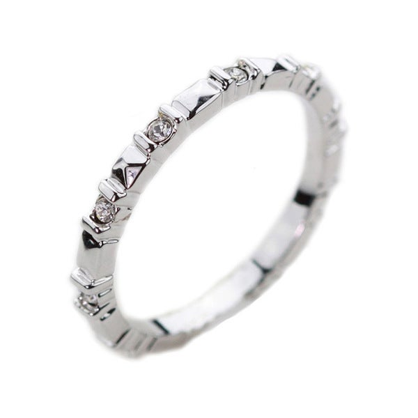 NEXTE Jewelry Silvertone Clear Cubic Zirconia Ridge-style Eternity Band