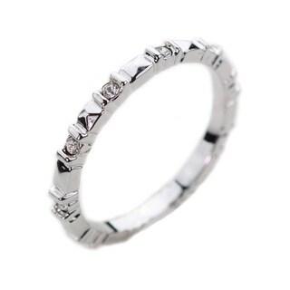 NEXTE Jewelry Silvertone Clear Cubic Zirconia Ridge-style Eternity Band