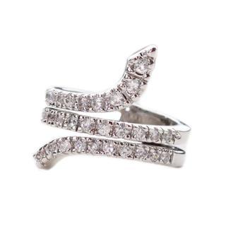 NEXTE Jewelry Silvertone Clear Cubic Zirconia Snake Figure Ring