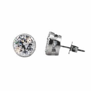 NEXTE Jewelry Silvertone Clear Cubic Zirconia Medium Size Serrated Stud Earrings