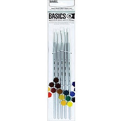Liquitex Basics White Nylon Acrylic Long Handle Brush 5-piece Set