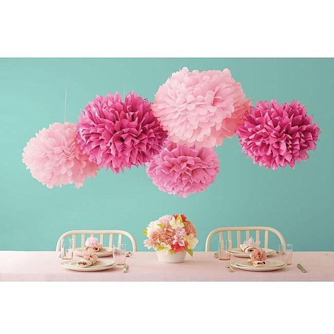 Martha Stewart Celebrate Pink Decor Pom Poms (Pack of 5)