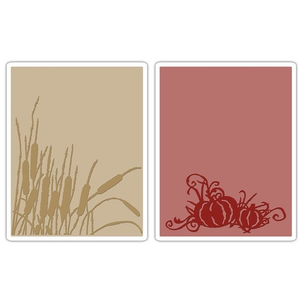 Sizzix Texture Fades 'Cattails & Pumpkin Patch' Embossing Folders (Pack of 2)