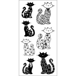 Inkadinkado Cats Clear Pattern Stamps Sheet