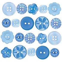 Doodlebug 20-piece Blue Blue-jean Boutique Buttons