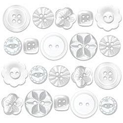 Doodlebug 20-piece Lily White Boutique Buttons