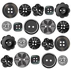 Doodlebug 20-piece Beetle Black Boutique Buttons