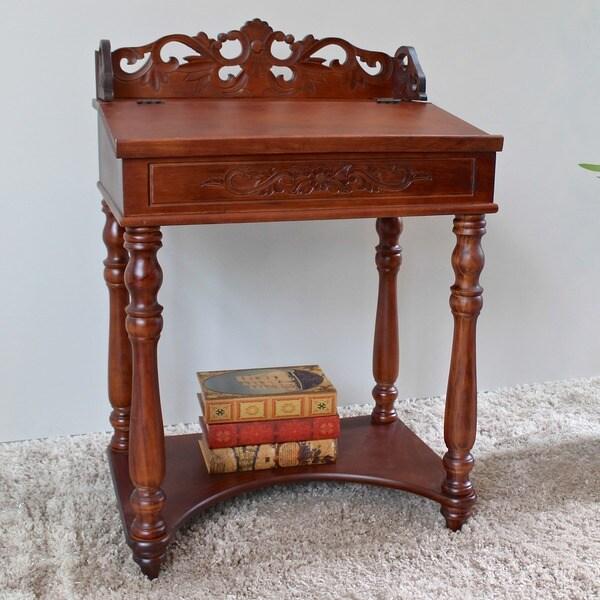International Caravan Shangri-La Hand-carved Small Wood Writing Desk