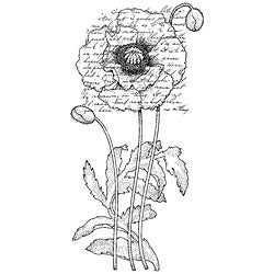 Penny Black Poppy Poem Rubber Stamp