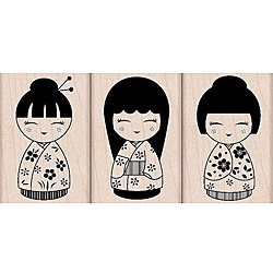 Hero Arts '3 Japanese Dolls' Wooden Stamp