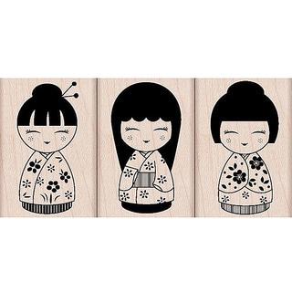 Hero Arts '3 Japanese Dolls' Wooden Stamp