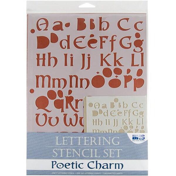 Blue Hills Studio 'Poetic Charm' Lettering Stencil 4-piece Set