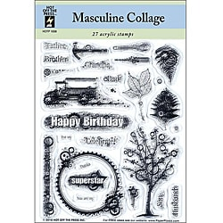Hot Off The Press 'Masculine Collage' Acrylic Stamps Sheet
