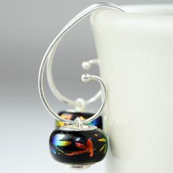 Silver Tie Dye Dragonflies on Black Dichroic Glass Earrings (Mexico)