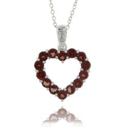 Dolce Giavonna Sterling Silver Garnet and Diamond Accent Heart Necklace
