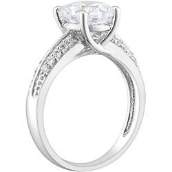 Miadora Sterling Silver Clear Cubic Zirconia Engagement-style Ring