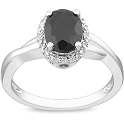 Miadora Sterling Silver Black Sapphire and Diamond Accent Ring