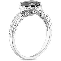 Miadora Sterling Silver Black and White Cubic Engagement-style Ring
