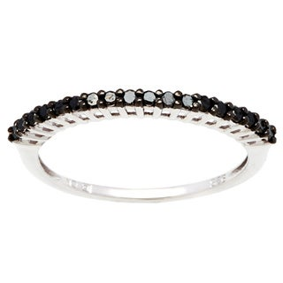 Haylee Jewels Sterling Silver 1/5ct TDW Black Diamond Band