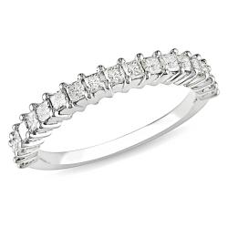 Miadora 10k White Gold 3/4ct TDW Diamond Anniversary Ring (G-H, I2-I3)