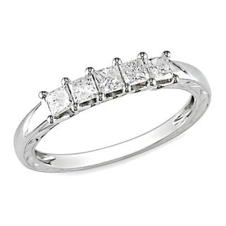 Miadora 10k White Gold 1/2ct TDW Diamond Anniversary Ring (G-H, I2-I3) with Bonus Earrings