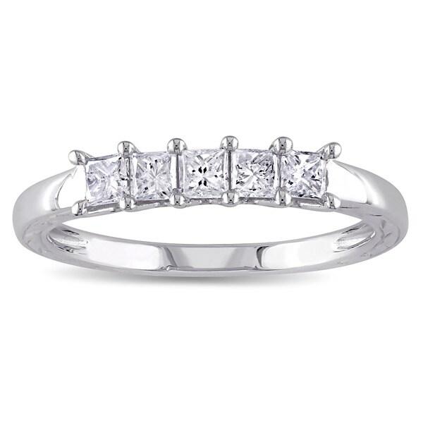 Miadora 10k White Gold 1/2ct TDW Diamond Anniversary Ring (G-H, I2-I3)