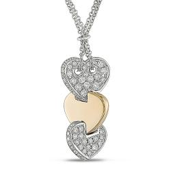 Miadora 18k Gold 7/8ct TDW Linear Triple Heart Diamond Necklace (G-H, SI1-SI2)