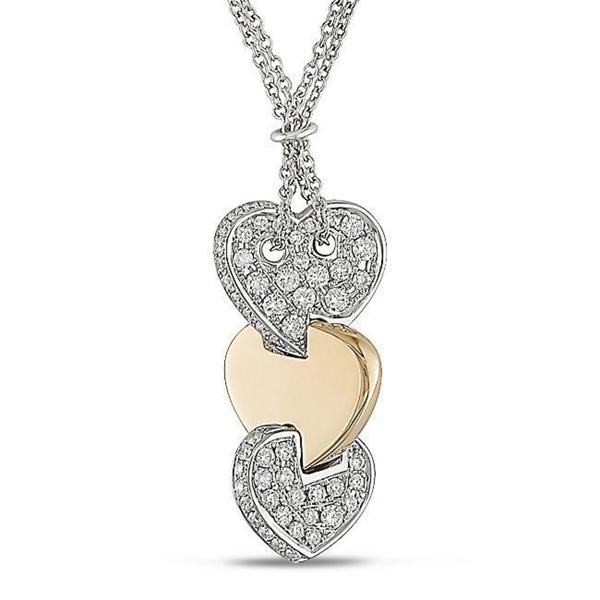 Shira Design 18k Gold 7/8ct TDW Triple Heart Diamond Necklace (G-H, SI1-SI2)