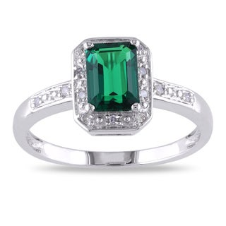 Miadora 10k White Gold Created Emerald and Diamond Accent Ring with Bonus Earrings