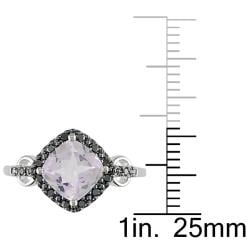 Miadora 10k White Gold Rose de France and 1/10ct TDW Black Diamond Ring
