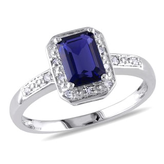 Miadora Sterling Silver Emerald-cut Created Sapphire and Diamond Ring with Bonus Earrings