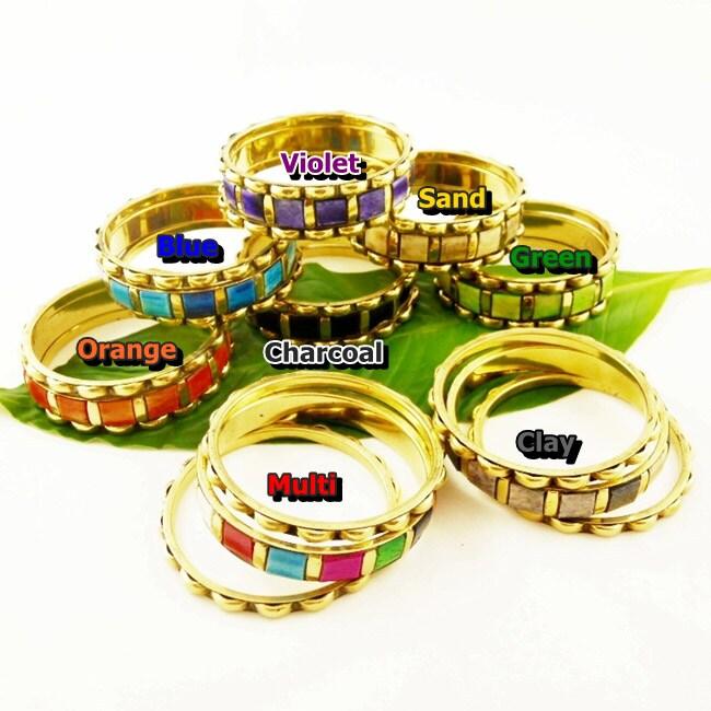 Set of 3 Brass and Enamel Basanti 'Spring' Bangles (India)