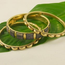 Set of 3 Brass and Enamel Basanti 'Spring' Bangles (India)
