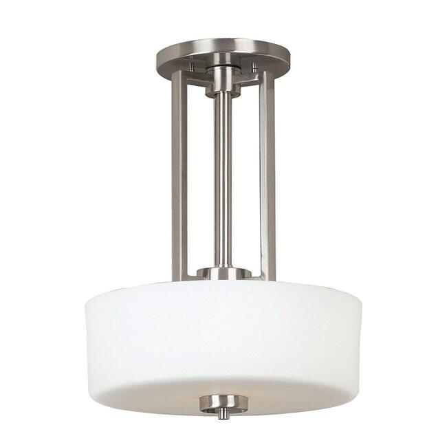 Contessa 2-light Brushed Steel Convertible Pendant